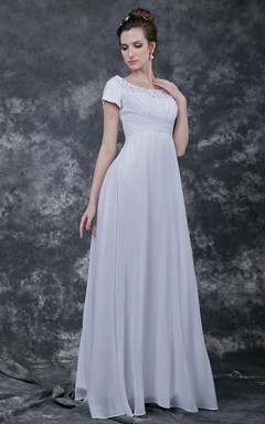 Modest A-line Chiffon Gown With Scoop Neck and Empire Waist