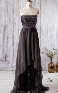 Floor-length Strapped Chiffon Dress With Sequins