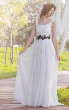 Bateau Sleeveless Chiffon Pleated Floor-Length Wedding Dress With Appliques