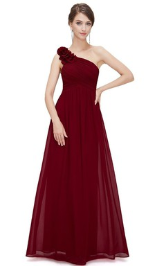One-shoulder Long Chiffon Dress With Ruching and Flower