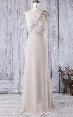 Floor-length One-shoulder Sweetheart Chiffon&Lace Dress With Illusion