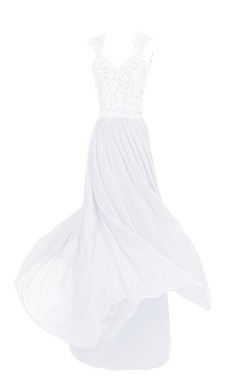 Sleeveless V-neck Lace Beaded Bodice Long Chiffon Dress