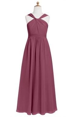 Floor Length Chiffon Sleeveless Dress With Ruching and Pleated Waist