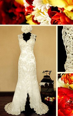 Scalloped Illusion Back Sheath Lace Wedding Dress With Split Front And Flower