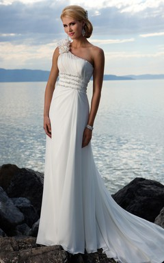 Sheath Column One Shoulder Hand-made Flower Chiffon Sweep Train Wedding Dress