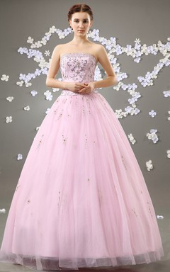 Strapless A-Line Blushing Ball Gown With Crystal Detailing And Soft Tulle