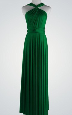 Convertible Chiffon Pleated Floor-Length Dress