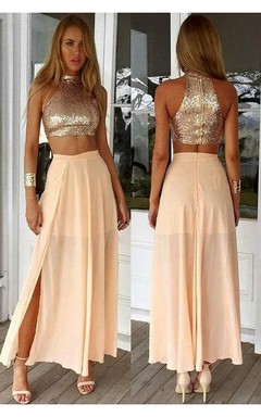 Newest Sequined Two Piece Prom Dress 2016 Front Split Floor-length