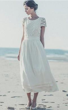 Newest White Lace A-line 2016 Wedding Dress Cap Sleeve Tea Length Jewel