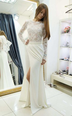 Scoop-Neck Illusion Lace Long Sleeve Split Front Wedding Dress With Beading And Draping
