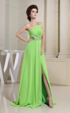 Asymmetrical Chiffon Beaded Dress With Side Slit and Single Strap
