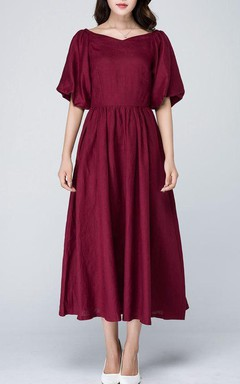 Burgundy Romantic Formal Party High Waisted Maxi Wedding Custom Made 1573 Dress