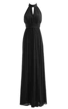 Halter Long Chiffon Gown With Keyhole Detail