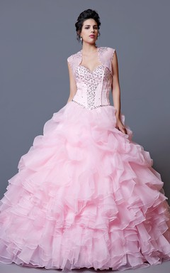 Full Billowing Cloud Skirt With Gathered Fabric and Sparkling Beaded Bodice