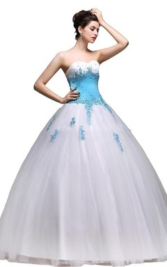 Sweetheart Tulle Ball Gown With Appliques and Beadings