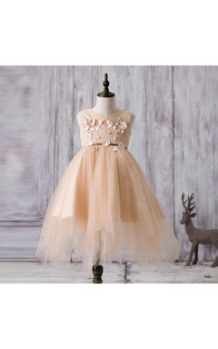 Sleeveless V-neck Flower Applique A-line Tulle Dress