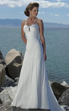 Sheath/Column Empire Spaghetti Straps Chiffon Beach Wedding Dress