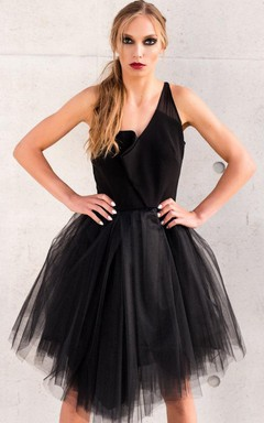 Asymmetric Tulle Little Black Tulle Party Elegant Ball Coctail Dress