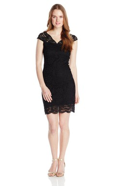 Cap-sleeved Short Lace Dress With Illusion Style