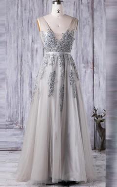 A-line Long Square Tulle&Lace Dress