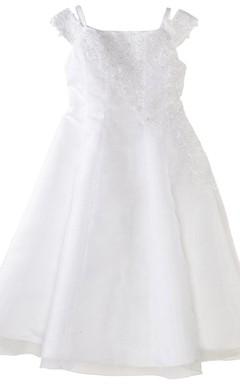 Off-shoulder A-line Appliqued Dress With Straps