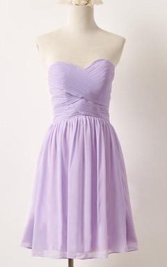 Short Strapped Sweetheart Chiffon Dress
