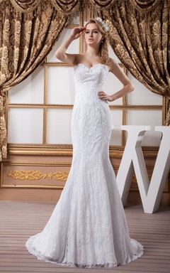 Sweetheart Mermaid Sheath Dress with Lace and Beading