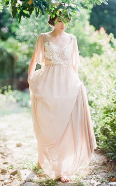 Lace Dress With Appliques&Corset Back