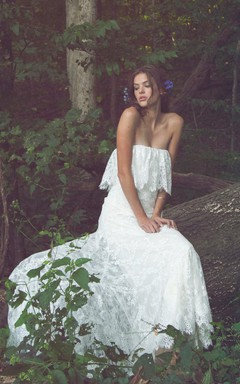 Off-Shoulder Long Sheath Lace Boho Wedding Dress With Ruffles