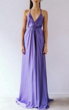 V-Neck Sleeveless Floor-Length Dress With Straps