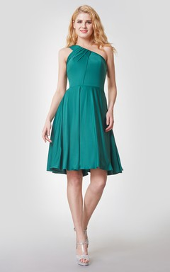 Ruched A-line One Shoulder Short Jersey Dress With Knot
