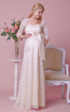 Sweetheart Allover Lace Gown With Satin Bow and Removable Jacket