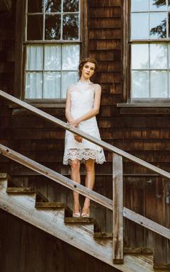 Halter Sleeveless Taffeta Wedding Dress With Appliques And Illusion Back