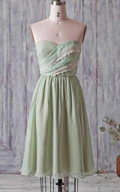 A-line Mini Knee-length Strapped Sweetheart Chiffon&Lace Dress With Ruffles