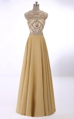 A-Line Princess Sleeveless Scoop Crystal Chiffon Floor-Length Dresses