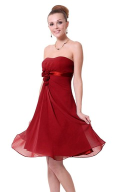 Strapless A-line Chiffon Dress With Satin Belt and Flower