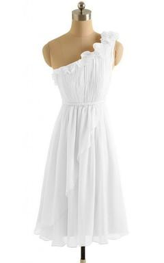 One-shoulder Floral Appliqued Short Layered Chiffon Dress