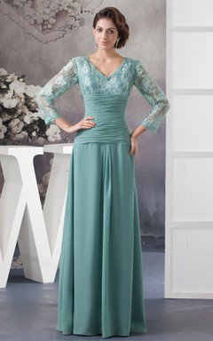 V-Neck Appliqued Chiffon Long Dress with Illusion Neckline