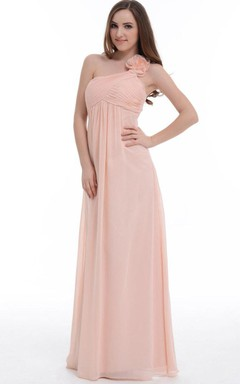 A-line Floor-length One-shoulder Chiffon Dress With Flower&Ruffles