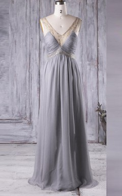 Floor-length V-neck Chiffon&Tulle&Lace Dress With Beading