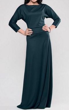 Bat-wing Sleeve Bateau Neck Long Jersey Dress