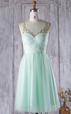 A-line Knee-length Sweetheart Tulle Dress With Beading&Illusion