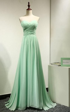 Long Mint Green Chiffon Bridesmaid Dress