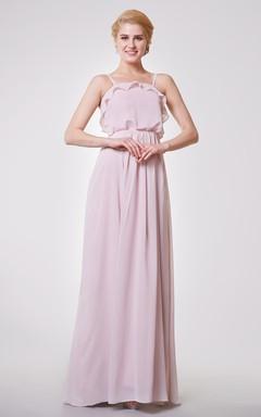 Classic Pleated A-line Chiffon Long Dress With Draped Bodice