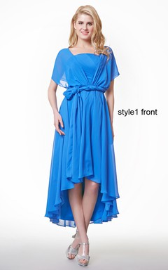 Short Sleeve Ruffled High Low Chiffon Dress With Sash