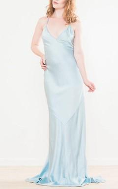 Something Blue Backless Silk Wedding 34 Inch Bust Dress