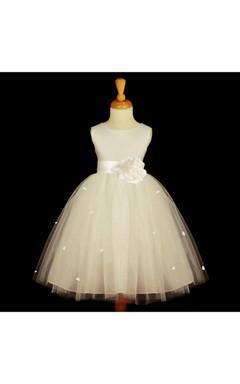 Sleeveless Jewel Neckline Ivory Rosebud Tulle Dress With Satin Bow Belt
