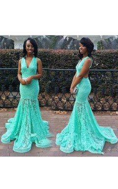 Mermaid Straps V-neck Lace Keyhole Long Dress