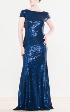 Trumpet Cowl Cap Sleeve Dress With Sequins