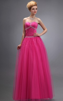 Glam Tulle Long Dress With Crystal Detailings And Lace-Up Back